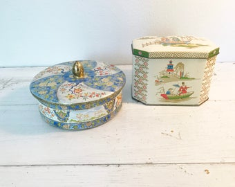Pair of Vintage Decorative Tins with Lids- Made in England