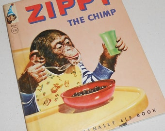 Vintage Rand McNally Elf Book Zippy the Chimp Book
