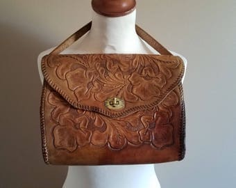 Georgous Tooled Leather Handbag with Rich Patina
