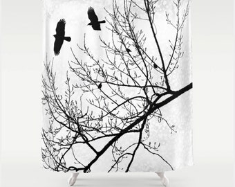 Fabric Shower Curtain, Crows Flying Birds in Branches Silhouette Black and White Graphic, Goth Gothic Themed Modern Home Decor
