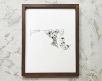 Maryland> Black-Eyed Susan> State Flower Drawing> Giclee Print