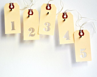 Number Gift Tags | Manila Number Tags | Cutout Number Tags | Vintage Tags | Manila Tags | Shipping Tags | Christmas Tags | Holiday Tags