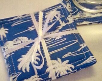 Mug Rug Set of 4, TROPICAL, Blue and White, Fabric Coasters, Handmade, Hostess Gift, FREE Shipping in USet