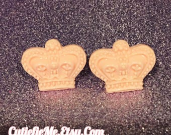 Baby Pink Crown Stud Earrings