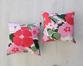 Vintage Linen Pink Floral Pillow with Down Insert