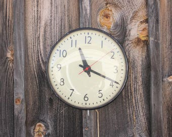 Large Industrial Electric Wall School House Shop Clock Timex