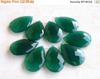 Final 51% off Sale Exceptional Green Onyx Gemstone Briolette Faceted Pear Tear Drop 27 to 28mm 4 beads matched