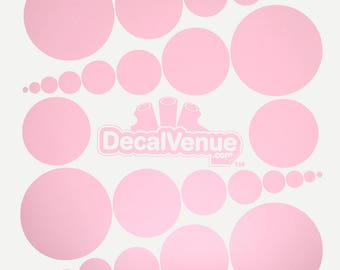 Baby Pink Polka Dot Circles Wall Decals - Various sizes - Mix and Match dots vinyl stickers