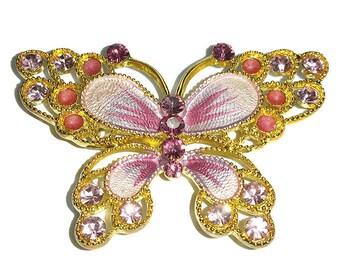 Pink Butterfly Pendant Bead or Slider 52mm Metal & Rhinestones, Back Loops