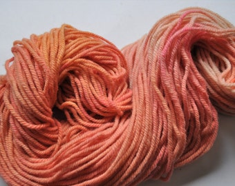 Peaches.  Handpainted Ombre Style Wool Yarn 3 ply Aran Weight