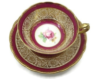 Paragon Tea Cup and Saucer - Pink with Gilt Gold Flowers, Roses, Teacup