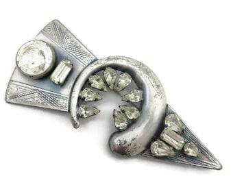 Art Deco Rhinestone Arrow Brooch - il Gioiello di Firenze Italy, Designer Costume Jewelry