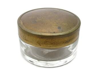 Brass Top Vanity Jar - Glass Cosmetic Holder
