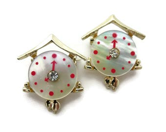 Clock Brooch Set of Two - Costume Jewelry, Mother of Pearl