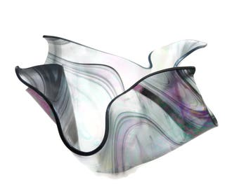 Art Glass Handkerchief Bowl - Black Stripe Iridescent