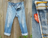"""Vintage Levi's 501 Jeans  //  Vtg 90s Made in the USA Levi Cropped Distressed Indigo Denim Button Fly Jeans //  31"""" waist"""