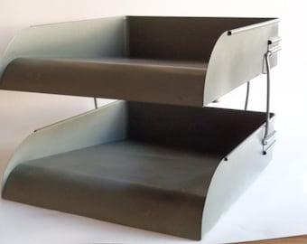 Vintage Two Tier Metal Office Organizer, Paper Organizer, Grey Metal Desk File