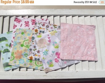 "SALE 10% OFF Set of 6 2 ply Flannel 8"" Children's Cloth Napkins, Wipes, Un Paper Napkins  Girls Mixed Print"