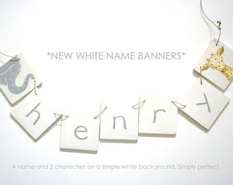 Modern White Name banner NEW with 5 letters Personalized Wooden Name Banner with 5 Letters, baby and kids art, alphabet, nursery