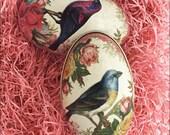 England Tin Metal Easter Egg Box Birds & Roses 4-1/4 Inch Nostalgic Craft Storage  TEG 45