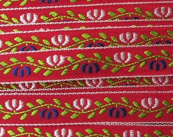 2 Yards Floral Jacquard Trim 1/2 Inch Wide Red White Blue and Green  VT 167
