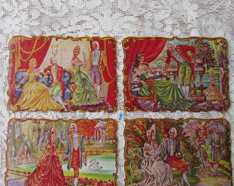 Germany Vintage 1960s Marie Antoinette Lithographed Die Cut Paper Scraps WS Out Of Print  606