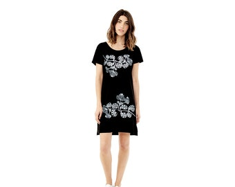 Womens Graphic Tee Dress -  Silver Floral Print - Gift For Her - Cute T shirt Dress