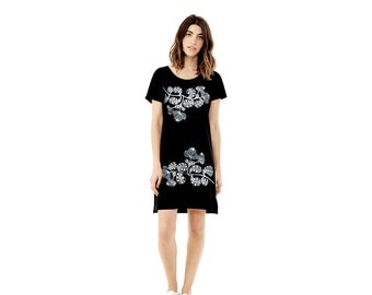 SALE - Womens Graphic Tee Dress -  Silver Floral Print - Gift For Her - Cute T shirt Dress