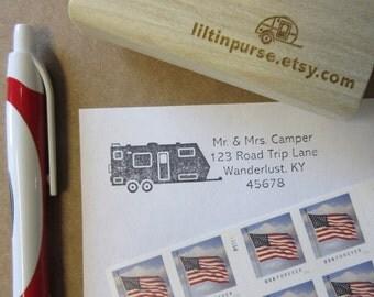 R.V. Travel Trailer Address Stamp, RV Camper, Return Address Stamp, Travel Stamp, Caravan Stamp, Envelope Stamp, Travel Gift, Full Time RVer