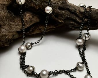 Long Pearl Necklace Forty Inch Pearl and Blackened Silver Long Necklace Flapper Antiqued Silver Large Pearls