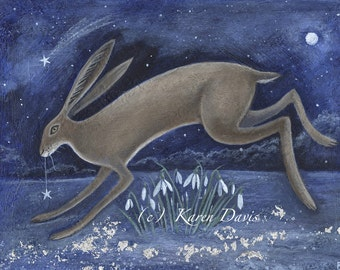 Carrying The Star to Spring. Hare/Lepus/Snowdrops/Star/Art Print. By Karen Davis