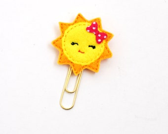 Kawaii Sun Felt Planner Clip / Bookmark