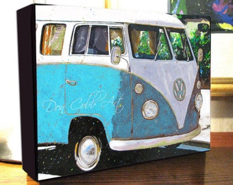 """Volkswagen Bus Art """"VW Sky Blue"""" 8x10x1.5"""" and 11x14x1.5"""" Gallery Wrap Canvas Print"""