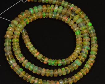 "3.5mm-5mm Fine Ethiopian Welo Opal Large Faceted Rondelle Beads 16.5"" Strand"