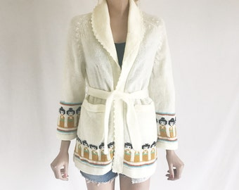 Vintage 70's Chunky Belted Boho Cardigan Sweater. Size Small