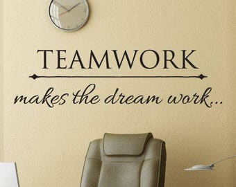 Wall Quotes Office Professional Teamwork Makes the Dream Work Vinyl Wall Decal Rear Admiral Grace Hopper Motivational Home Office Work Desk