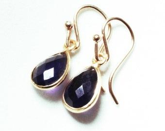 Amethyst Earrings Genuine Amethyst Small Dangle Earrings Amethyst Teardrop Earring February Birthstone 14k Gold Bezel BZ-E-102-Amethyst/g