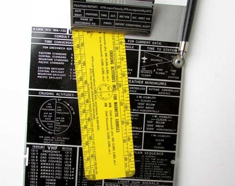 Vintage Office Decor,  Airman's Industrial Clipboard and Measure, Pilot Info Clipboard, 1968 Vintage, Westfield Airmotive, Westfield, MA