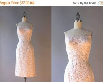 STOREWIDE SALE 1960s Dress / Vintage 60s Nude Lace Wiggle Dress / Sixties Bombshell White Lace Fitted Dress XS small