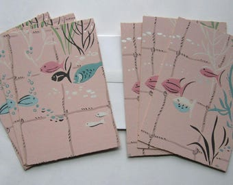 set of 6 handmade note cards stationary made from vintage wallpaper w mid century fish underwater plants