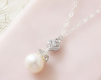 Crystal and Pearl Pendant Wedding Necklace, Bridesmaid Necklace
