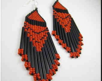 Native American Style Beadwork Dangle Seed Bead Earrings Red and Black with Long Bugle Beads