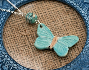 Mint Butterfly Necklace, Ceramic Pendant, Clay Butterfly, Animal Necklace