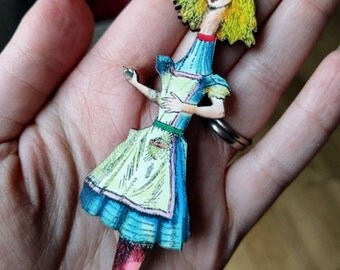 Alice In Wonderland Necklace Tenniel Illustration, Wood Jewelry