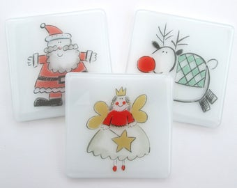 Christmas coasters ~ fused glass drinks mats,  fun holiday table decoration, young Christmas lovers, Red nosed deer, Santa, Fairy - SALE