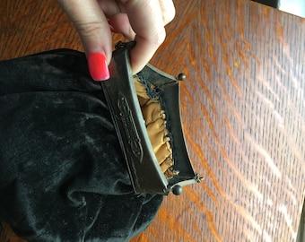 Black velvet edwardian purse