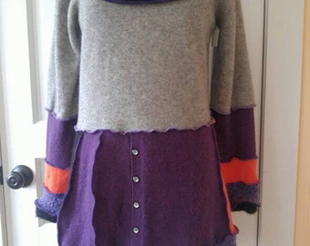Cowl Pullover Tunic or Dress - Cashmere - Eco Friendly Couture - Size Large-XL
