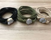 Luna Collection! Suede Wrap Bracelet, Suede Choker and Bracelet, Druzy Bracelet, Druzy Jewelry, Druzy Choker, Boho Jewelry, Women's Jewelry