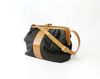 Vintage Fendi Striped Tan Leather Shoulder Bag