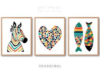 Zebra Head, Geometric Love , Fish Art Print, PRINT SET, Home wall decor, Nursery animal Art, Kids room art, Nursery room decor